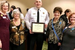Pat Arata, Barbara May, Captain Ushinski, DAR State Regent Maureen Tipton and Susan Finkle Sourlis at the ceremony. (Courtesy Prince George's County Fire and EMS)
