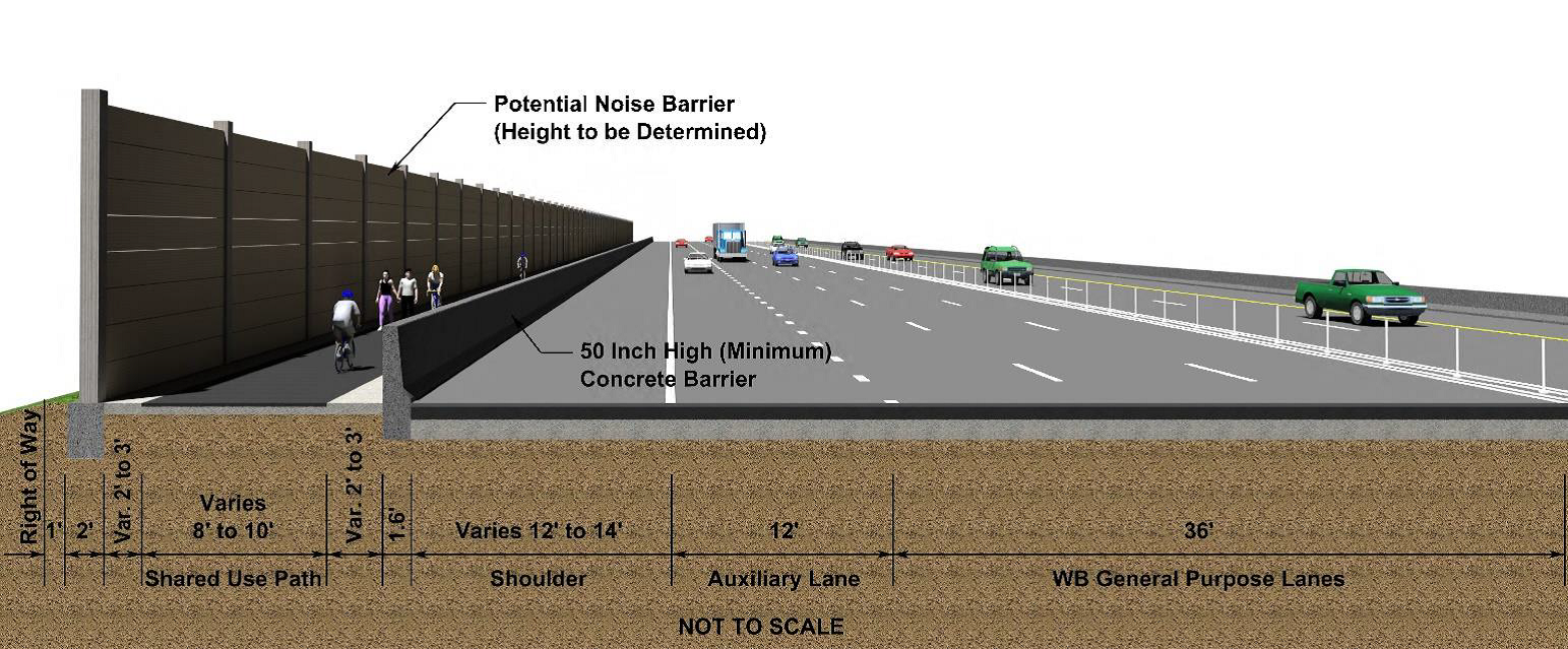 A rendering of the planned bike trail next to Interstate 66 regular lanes and toll lanes due to open in 2022. (Courtesy VDOT/FAM)