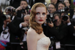 Actress Jessica Chastain arrives for the screening of Madagascar 3: Europe's Most Wanted, at the 65th international film festival, in Cannes, southern France, Friday, May 18, 2012. (AP Photo/Francois Mori)