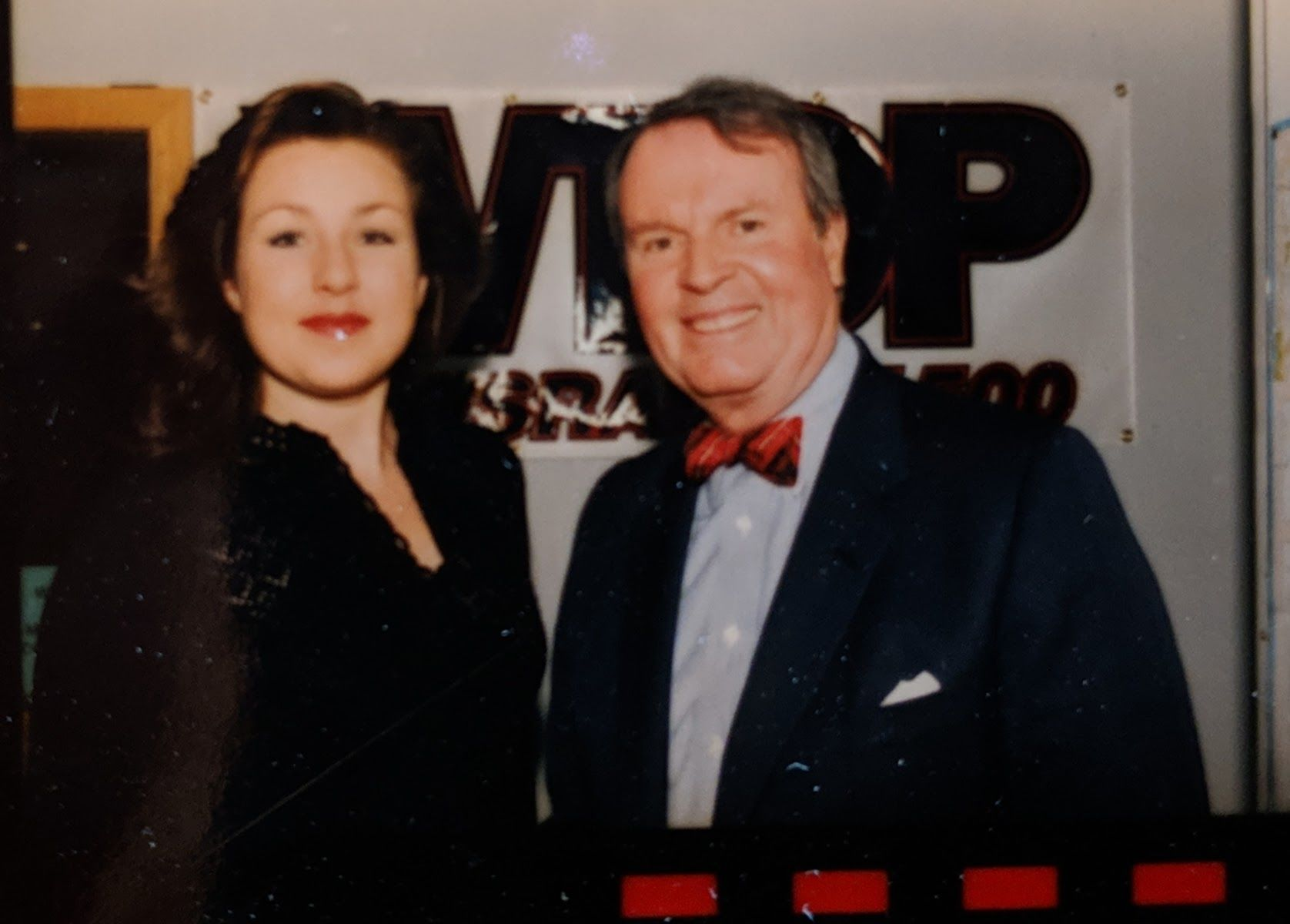 CBS's Charles Osgood (shown here with WTOP reporter Kristi King in a 1994 photo) also worked at the station, but back when the format was music. (File photo)