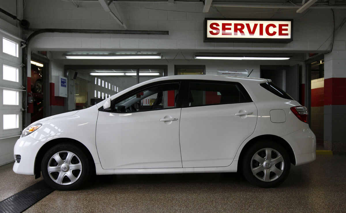 A 2009 Toyota Matrix is shown at the service department at McInerney Toyota in Clinton Township, Mich., Feb. 4, 2010.  (AP Photo/Paul Sancya)