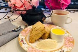 Opaline Bar & Brasserie is also offering a cherry blossom tea blend from Harney & Sons with scones, lemon curd and clotted cream for $22. (Courtesy Opaline Bar & Brasserie)