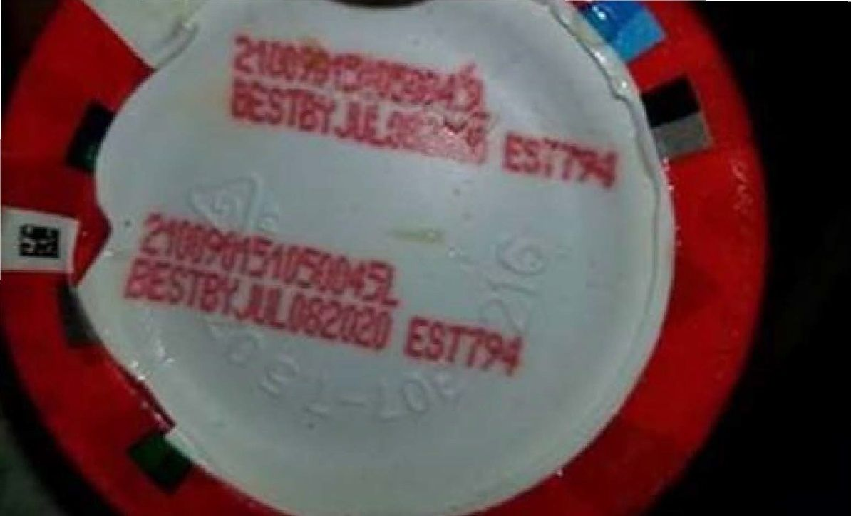 """The products have a best by date of July 8, 2020,  and an establishment number of """"EST. 794"""" printed on the bottom of the bowl, according to the USDA. (Courtesy USDA)"""