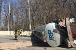 A tanker truck overturns on the Inner Loop on the American Legion Bridge on Thursday, March 28, 2019. (Courtesy Fairfax County Fire and Rescue)