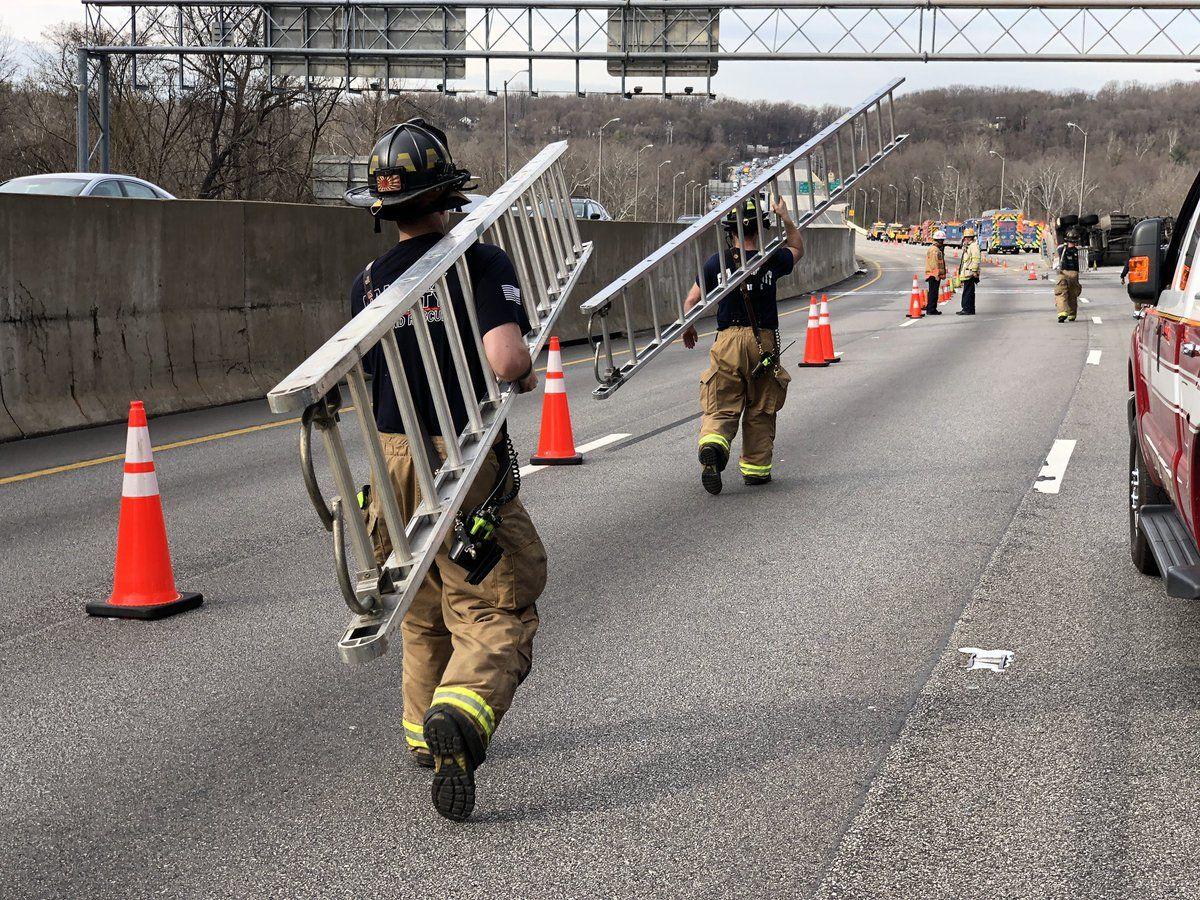 Crews clean up the crash site Thursday. (Courtesy VDOT via Twitter)