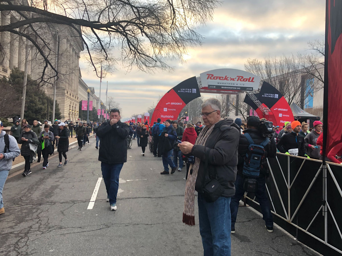 The marathon shut down numerous streets in D.C. on Saturday, March 9. (WTOP/Melissa Howell)