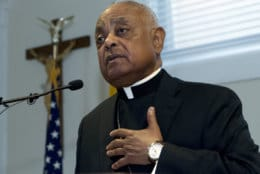 Archbishop designated by Pope Francis to the Archdiocese of Washington, Archbishop Wilton D. Gregory, speaks during a news conference at Washington Archdiocesan Pastoral Center in Hyattsville, Md., Thursday, April 4, 2019. Archbishop-designate Gregory will succeed Cardinal Donald Wuerl. (AP Photo/Jose Luis Magana)