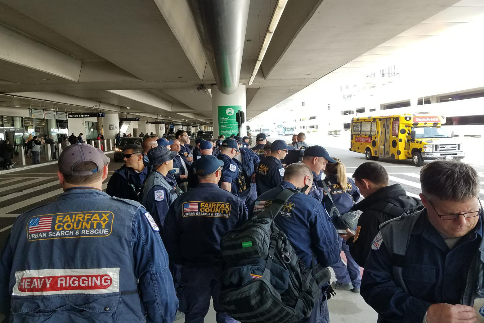 Members of Virginia Task Force 1 arrive in Los Angeles for the training exercise. (Courtesy Virginia Task Force 1)