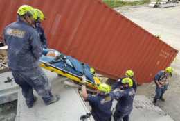 """Rescue a """"victim."""" (Courtesy Virginia Task Force 1)"""