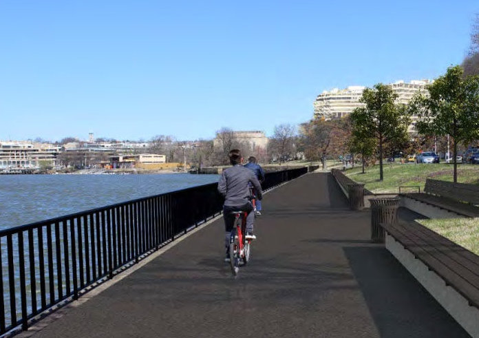 The National Park Service is proposing a wider trail near the Kennedy Center. (Courtesy National Park Service)