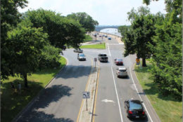 National Park Service renderings of the Rock Creek Parkway looking southbound toward the exit for Memorial Bridge. (Courtesy National Park Service)