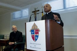 Archbishop designated by Pope Francis to the Archdiocese of Washington, Archbishop Wilton D. Gregory, speaks during a news conference as Cardinal Donald Wuerl looks on, at Washington Archdiocesan Pastoral Center in Hyattsville, Md., Thursday, April 4, 2019. Archbishop-designate Gregory will succeed Cardinal Donald Wuerl. (AP Photo/Jose Luis Magana)