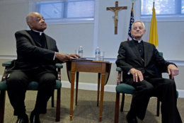 Archbishop designated by Pope Francis to the Archdiocese of Washington, Archbishop Wilton D. Gregory, left, and Cardinal Donald Wuerl, during the news conference at Washington Archdiocesan Pastoral Center in Hyattsville, Md., Thursday, April 4, 2019. Archbishop-designate Gregory will succeed Cardinal Donald Wuerl. (AP Photo/Jose Luis Magana)