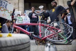 Families attend the protest for safer streets in DC outside the Wilson Building on Friday. The protest was sparked by recent deaths including that of Abdul Seck in SE DC and Dave Salovesh in NE D.C. (Courtesy Aimee Custis/Aimee Custis Photography)