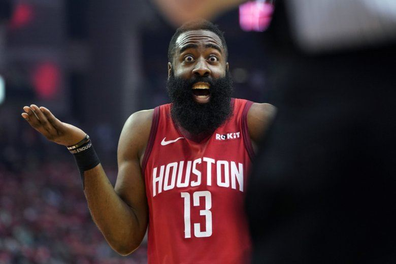 1008d70f751b Houston Rockets guard James Harden (13) reacts to an official s call during  the first half in Game 5 of an NBA basketball playoff series against the  Utah.