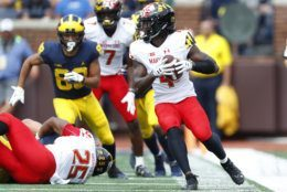 Maryland defensive back Darnell Savage Jr. (4) intercepts a Michigan pass in the first half of an NCAA football game in Ann Arbor, Mich., Saturday, Oct. 6, 2018. (AP Photo/Paul Sancya)