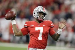 Ohio State quarterback Dwayne Haskins (7) throws during the first half of the Big Ten championship NCAA college football game against Northwestern, Saturday, Dec. 1, 2018, in Indianapolis. (AP Photo/Darron Cummings)