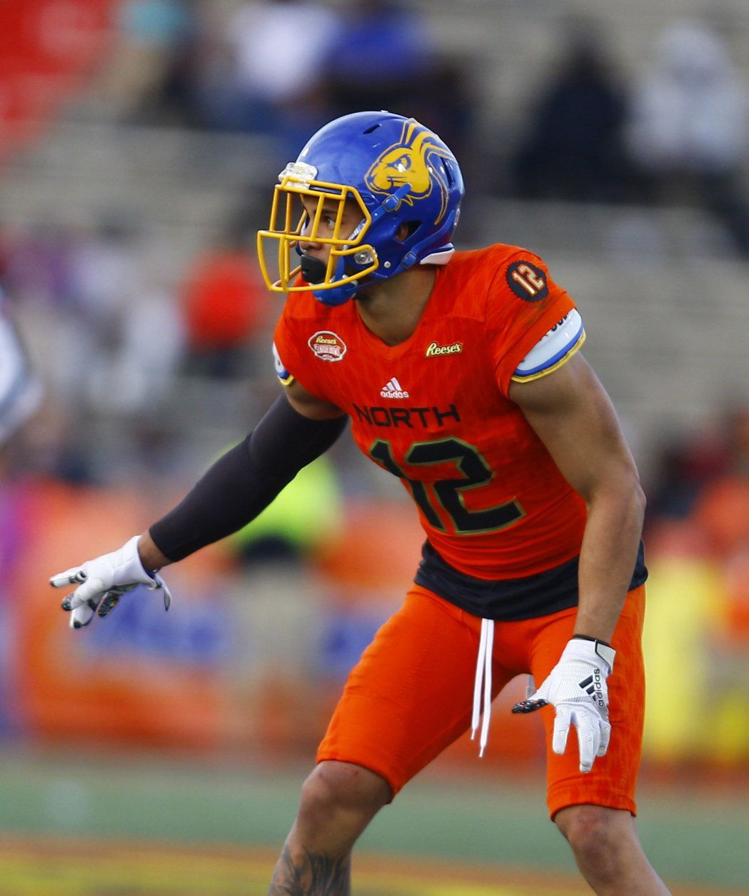North defensive back Jordan Brown of South Dakota State (12) during the second half of the Senior Bowl college football game, Saturday, Jan. 26, 2019, in Mobile, Ala. (AP Photo/Butch Dill)