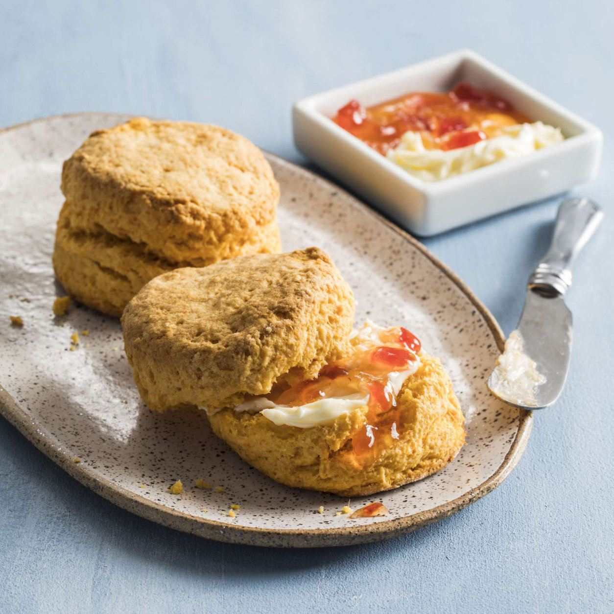 "This undated photo provided by America's Test Kitchen in March 2019 shows Sweet Potato Biscuits in Brookline, Mass. This recipe appears in the cookbook ""Vegetables Illustrated."" (Steve Klise/America's Test Kitchen via AP)"