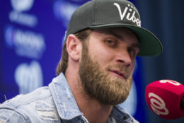 Philadelphia Phillies' Bryce Harper speaks during a news conference before a baseball game against the Washington Nationals at Nationals Park, Tuesday, April 2, 2019, in Washington. (AP Photo/Alex Brandon)