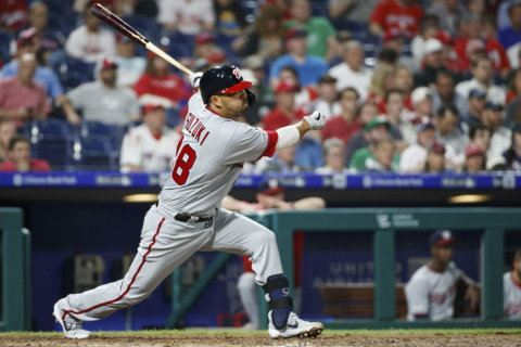 Hoskins hits 2 solo homers, Phillies beat Nationals 4-3
