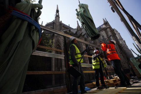Paris police say there is a fire at the city's Notre Dame cathedral