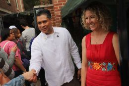 Belizean Ambassador Daniel Gutierez and his wife, Erin Ryan, greet visitors at last year's Around the World Embassy Tour. (Courtesy Cultural Tourism DC)