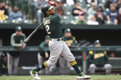 Khris Davis homers twice to lead Athletics past Orioles 8-5