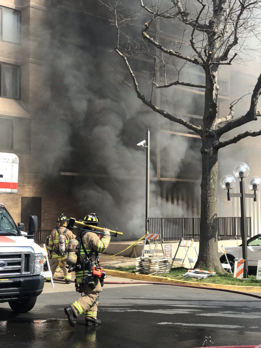 A transformer fire in Bailey's Crossroads led to a smoky evacuation Monday. (Courtesy Fairfax County Fire and Rescue)
