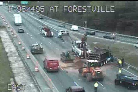 Dump truck overturns, spills dirt on Capital Beltway in Maryland