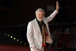 "FILE - In this Wednesday, Nov. 1, 2017 file photo, actor Ian McKellen poses on the red carpet at the 12th edition of the Rome Film Fest, in Rome. British stage stars were preparing Sunday, April 7, 2019 for the annual Olivier Awards, where musicals ""Come From Away"" and ""Company"" lead the race with nine nominations apiece. Other acting contenders include Ian McKellen for ""King Lear,"" Gillian Anderson for ""All About Eve"" and Sophie Okonedo for ""Antony and Cleopatra."" (AP Photo/Andrew Medichini, file)"