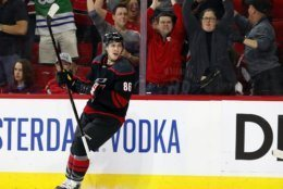 Carolina Hurricanes' Teuvo Teravainen, of Finland, reacts after scoring a goal against the Washington Capitals during the second period of Game 4 of an NHL hockey first-round playoff series in Raleigh, N.C, Thursday, April 18, 2019, (AP Photo/Karl B DeBlaker)