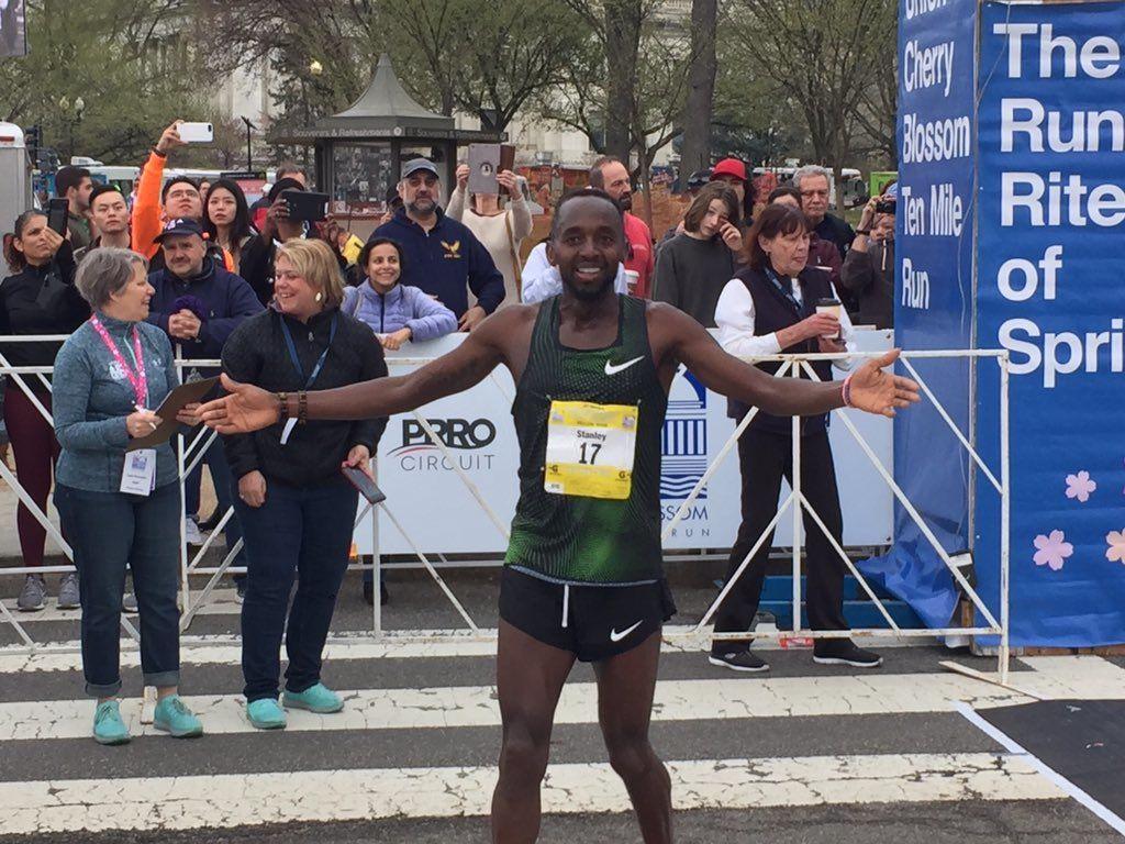 The winner of the men's division of the 2019 Cherry Blossom 10 Miler (WTOP/John Domen)