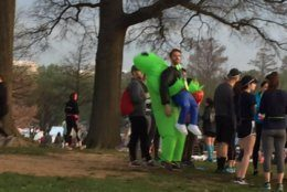 Some participants chose to dress up in costumes to run the race. This runner is hoping his will carry him to the finish line. (WTOP/John Domen)