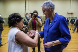 Chicago mayoral candidate Toni Preckwinkle, right, and election Judge Morganna Williams at the 22nd precinct polling station, Tuesday, April 2nd, 2019.  (James Foster/Chicago Sun-Times via AP)