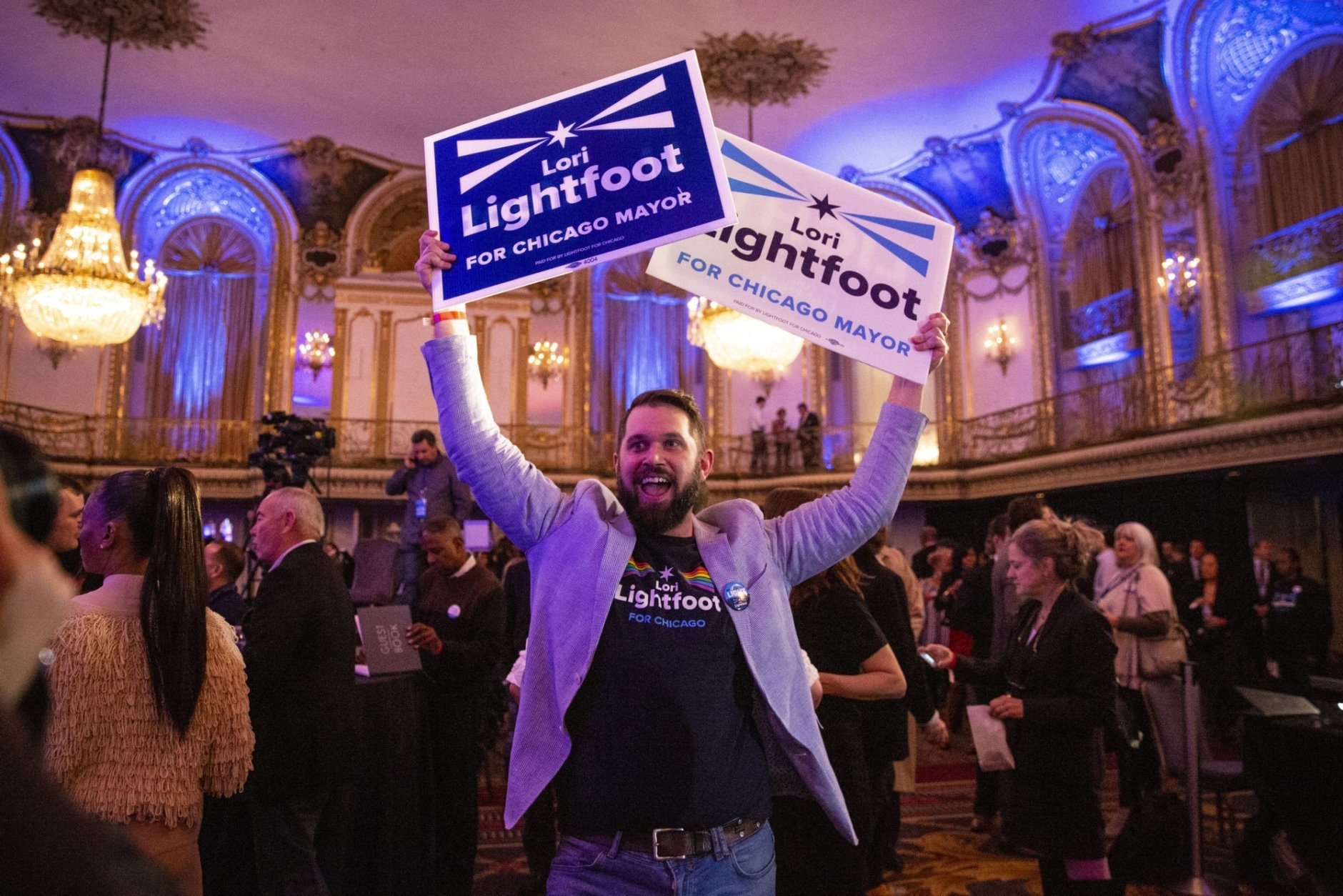 People gather at the Hilton Chicago for mayoral candidate Lori Lightfoot's election night rally, Tuesday, April 2, 2019. (Ashlee Rezin/Chicago Sun-Times via AP)