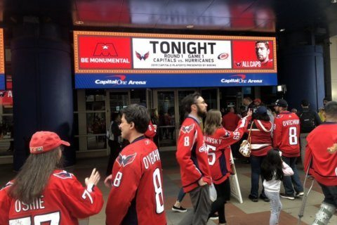 WATCH: Caps fans gather to celebrate 1st game of playoff run