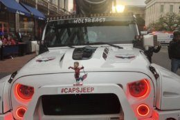 Front-end view of the #CapsJeep outside Capital One Arena. (WTOP/Mike Murillo)