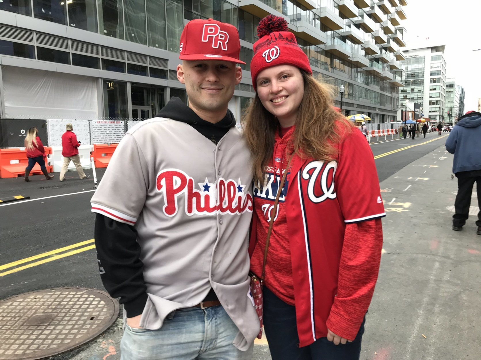 They both live in D.C. He's a lifelong Phillies fan. Somehow, love endures. (WTOP/Michelle Basch)
