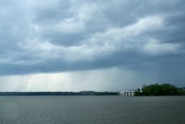 With a tornado watch in effect, storms moved in, including this one near National Harbor. (WTOP/Dave Dildine)