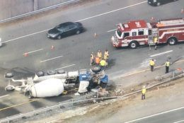 An overturned truck on Va. 267/Dulles Toll Road just after Route 7 in Vienna, Virginia, caused significant delays starting Wednesday afternoon. (NBC Washington/Brad Freitas)