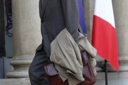 Former Military Chief of Staff, and newly appointed in charge of the organization of Notre Dame cathedral's reconstruction, Jean-Louis Georgelin, arrives at the Elysee Palace to attend a meeting regarding the restoration of the Notre Dame Cathedral, in Paris, Thursday, April 18, 2019. Nearly $1 billion has poured in from ordinary worshippers and high-powered magnates around the world to restore Notre Dame Cathedral in Paris after a massive fire. (AP Photo/Thibault Camus)
