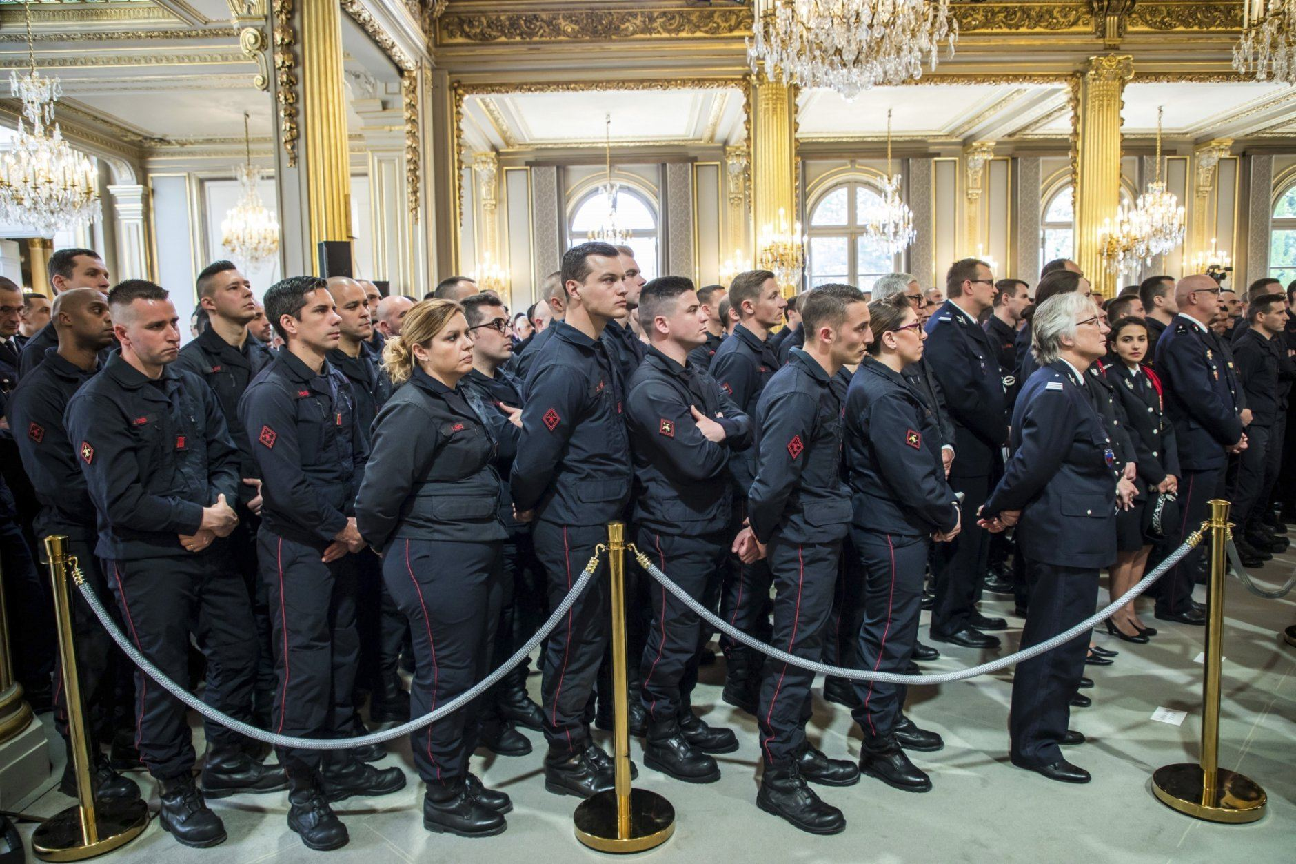 Parisian Firefighters' brigade at the Elysee Palace in Paris