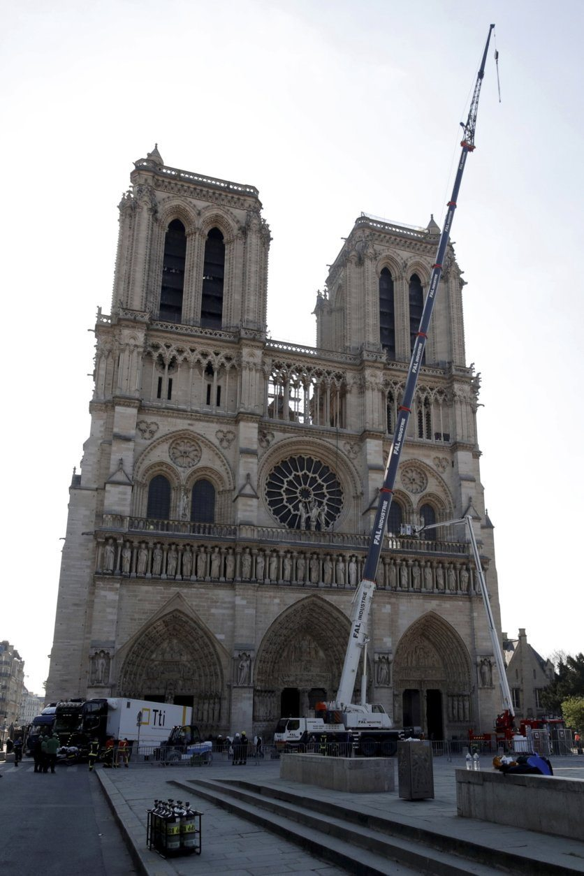 Large artworks are seen in a truck after being removed from Notre-Dame Cathedral to be secured after a massive fire devastated large parts of the gothic structure in Paris