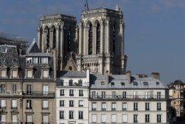 Notre Dame cathedral is pictured Friday, April 19, 2019 in Paris. Rebuilding Notre Dame, the 800-year-old Paris cathedral devastated by fire this week, will cost billions of dollars as architects, historians and artisans work to preserve the medieval landmark. (AP Photo/Thibault Camus)