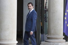 French Interior Minister Christophe Castaner arrives at the Elysee Palace to attend a meeting regarding the restoration of the Notre Dame Cathedral, in Paris, Thursday, April 18, 2019. Nearly $1 billion has poured in from ordinary worshippers and high-powered magnates around the world to restore Notre Dame Cathedral in Paris after a massive fire. (AP Photo/Thibault Camus)