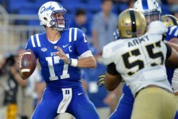 DURHAM, NC - AUGUST 31:  Daniel Jones #17 of the Duke Blue Devils drops back to pass against the Army Black Knights during their game at Wallace Wade Stadium on August 31, 2018 in Durham, North Carolina.  (Photo by Grant Halverson/Getty Images)