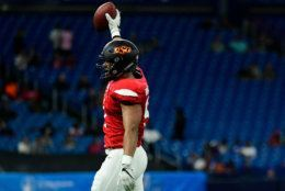 ST PETERSBURG, FLORIDA - JANUARY 19: Jordan Brailford #91 from Oklahoma State playing on the East Team celebrates after a turnover during the third quarter against the West Team at the 2019 East-West Shrine Game at Tropicana Field on January 19, 2019 in St Petersburg, Florida. (Photo by Julio Aguilar/Getty Images)