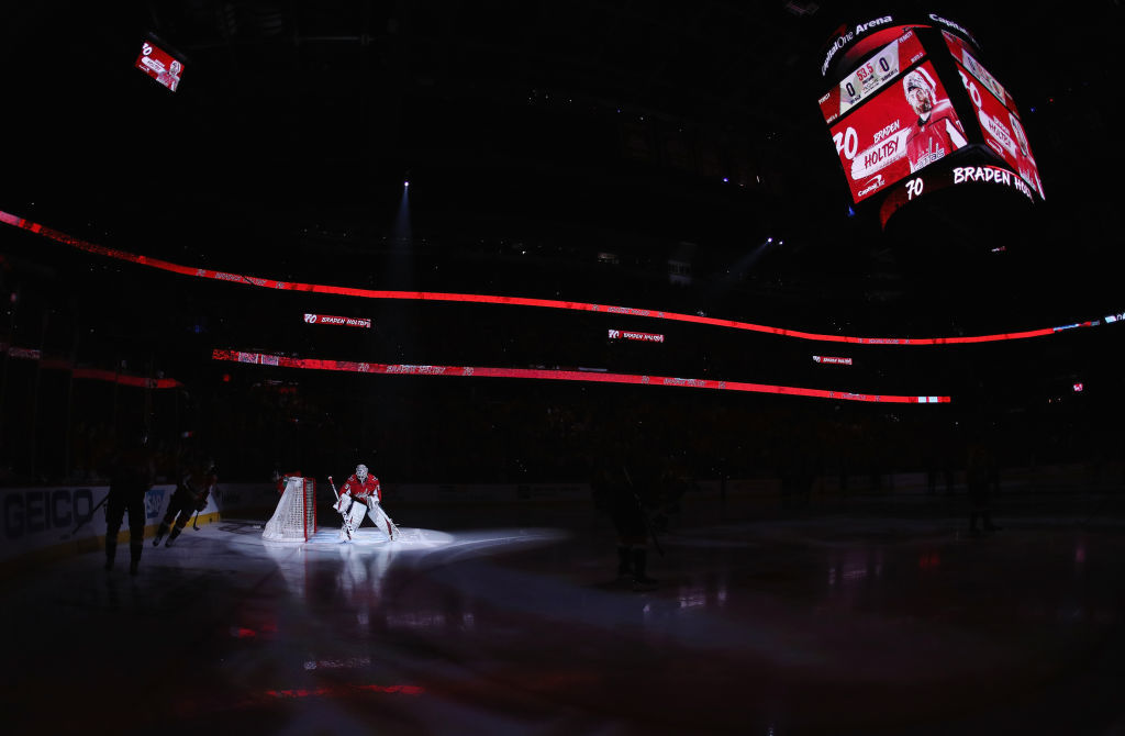 WASHINGTON, DC - APRIL 24: Braden Holtby #70 of the Washington Capitals prepares to play against the Carolina Hurricanes in Game Seven of the Eastern Conference First Round during the 2019 NHL Stanley Cup Playoffs at the Capital One Arena on April 24, 2019 in Washington, DC. (Photo by Patrick Smith/Getty Images)