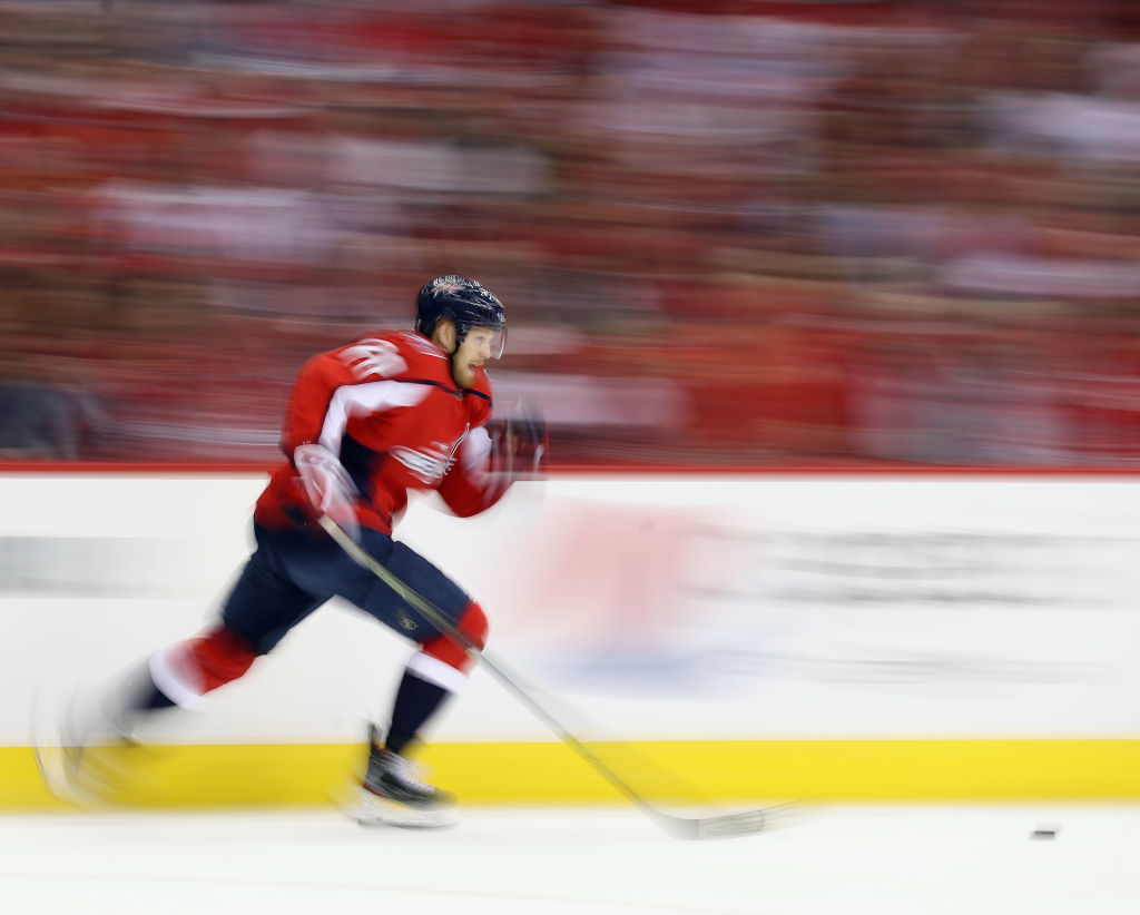 WASHINGTON, DC - APRIL 24: Lars Eller #20 of the Washington Capitals skates against the Carolina Hurricanes during the first period in Game Seven of the Eastern Conference First Round during the 2019 NHL Stanley Cup Playoffs at the Capital One Arena on April 24, 2019 in Washington, DC. (Photo by Patrick Smith/Getty Images)
